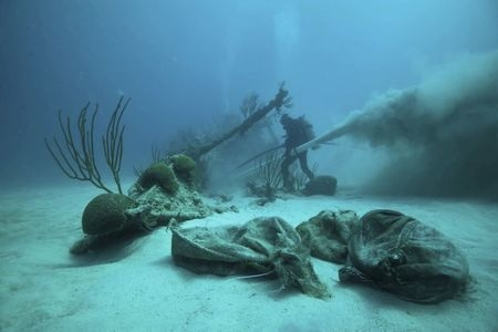 Dr. Philippe Max Rouja excavates the bow of the Civil War blockade runner ship Mary-Celestia, which sank off Bermuda in 1864, on June 19, 2011. (Reuters/LookBermuda/Chris Burville/Handout)
