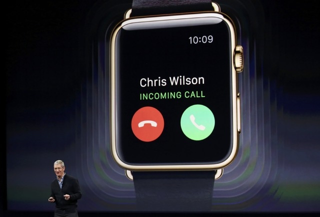 Apple CEO Tim Cook introduces the Apple Watch during an Apple event in San Francisco, California March 9, 2015. (REUTERS/Robert Galbraith)