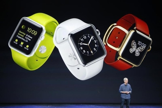 Apple CEO Tim Cook speaks about the Apple Watch during an Apple event at the Flint Center in Cupertino, California, September 9, 2014. (REUTERS/Stephen Lam)