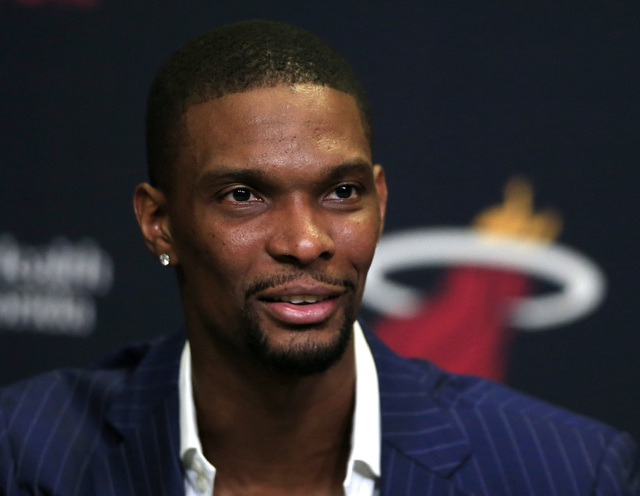 Mar 9, 2015; Miami, FL, USA;  Miami Heat center Chris Bosh speaks to the media before a game between the Boston Celtics and Miami Heat at American Airlines Arena. (Robert Mayer-USA TODAY Sports)