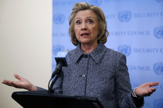 Former United States Secretary of State Hillary Clinton speaks during a news conference at the United Nations headquarters in New York March 10, 2015. (REUTERS/Mike Segar)