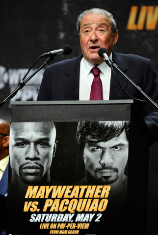Mar 11, 2015; Los Angeles, CA, USA;  Manny Pacquiao's promoter Bob Arum during a press conference to announce Pacquiao's fight with Floyd Mayweather on May 2, 2015. Mandatory Credit: Robert Hanash ...