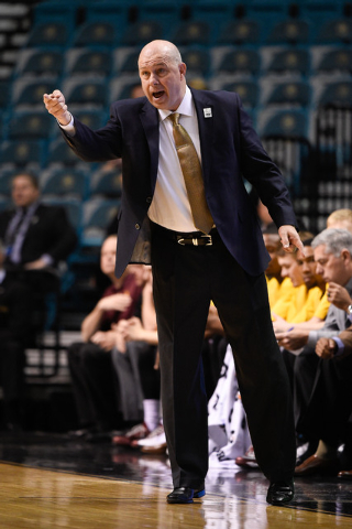 March 11, 2015; Las Vegas, NV, USA; Arizona State Sun Devils head coach Herb Sendek instructs against the Southern California Trojans during the first half in the first round of the Pac-12 Confere ...