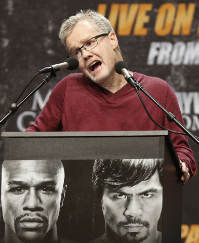 "Freddie Roach, trainer of eight-division world champion Manny ""Pac-Man"" Pacquiao, speaks at a news conference ahead of Pacquiao's upcoming bout with eleven-time, five-division world boxi ..."