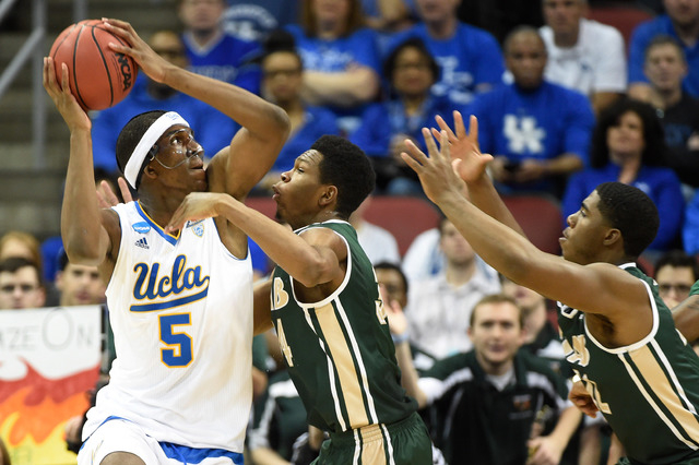 Mar 21, 2015; Louisville, KY, USA; UCLA Bruins forward Kevon Looney (5) drives to the basket against the UAB Blazers during the first half in the third round of the 2015 NCAA Tournament at KFC Yum ...