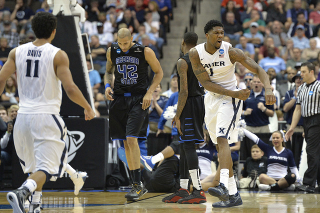 Mar 21, 2015; Jacksonville, FL, USA; Xavier Musketeers forward Jalen Reynolds (1) reacts against the Georgia State Panthers in the second half of a game in the third round of the 2015 NCAA Tournam ...