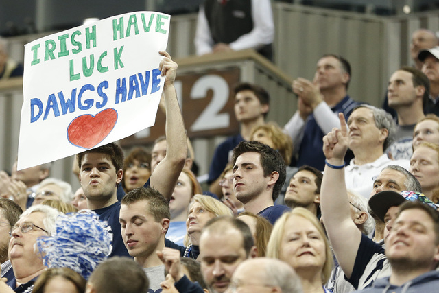 Mar 21, 2015; Pittsburgh, PA, USA; A Butler Bulldogs fan holds a sign from the stands during the Bulldogs' game against the Notre Dame Fighting Irish in the third round of the 2015 NCAA Tournament ...