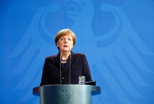 German Chancellor Angela Merkel reacts as she makes a statement in Berlin, March 24, 2015. Lufthansa's budget carrier Germanwings confirmed its flight 4U9525 from Barcelona to Duesseldorf crashed  ...