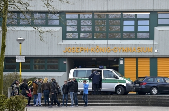 A police car is parked outside the Josef-Koenig-Gymnasium high school in Haltern am See, March 24, 2015. A spokeswoman for the northwestern German town of Haltern am See said on Tuesday that there ...