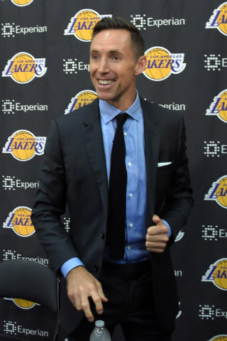 Mar 24, 2015; El Segundo, CA, USA; Los Angeles Lakers guard Steve Nash addresses the media at the press conference to announce his retirement at the Toyota Sports Center. (Kirby Lee-USA TODAY Sports)