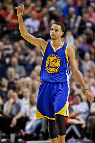Mar 24, 2015; Portland, OR, USA; Golden State Warriors guard Stephen Curry (30) gestures at the end of the game against the Portland Trail Blazers during the fourth quarter at the Moda Center. Man ...