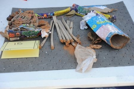 Fireworks are pictured in this undated handout evidence photo provided by the U.S. Attorney's Office in Boston,March 25, 2015. (Reuters/U.S. Attorney's Office/Handout)