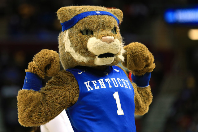 Mar 26, 2015; Cleveland, OH, USA; Kentucky Wildcats mascot during the second half against the West Virginia Mountaineers in the semifinals of the midwest regional of the 2015 NCAA Tournament at Qu ...