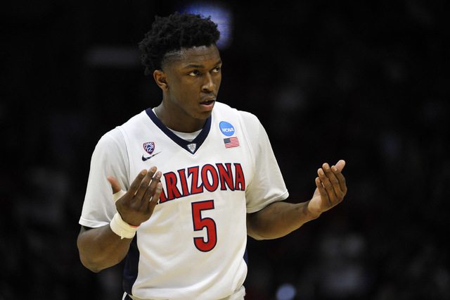 Mar 26, 2015; Los Angeles, CA, USA; Arizona Wildcats forward Stanley Johnson (5) reacts against Xavier Musketeers during the second half in the semifinals of the west regional of the 2015 NCAA Tou ...
