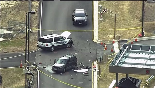 An aerial view of a shooting scene at the National Security Agency at Fort Meade in Maryland is pictured in this still image take from video, March 30, 2015. (REUTERS/Courtesy of NBC4Washington/Ha ...