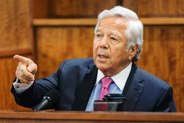 Owner of the New England Patriots Robert Kraft testifies during the murder trial of former New England Patriots tight end Aaron Hernandez at Bristol County Superior Court in Fall River, Massachuse ...
