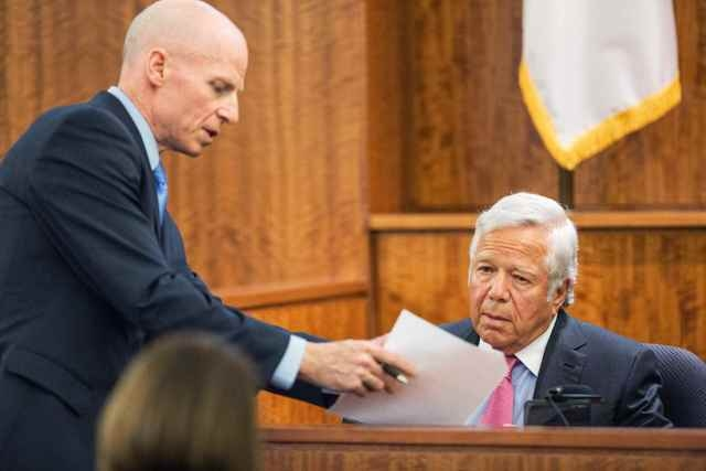Prosecutor William McCauley questions the owner of the New England Patriots, Robert Kraft during the murder trial of former New England Patriots tight end Aaron Hernandez at Bristol County Superio ...