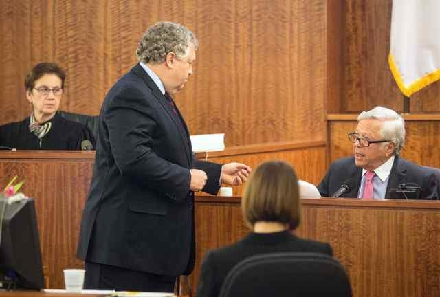 Judge Susan Garsh listened as defense attorney Michael Fee questions the owner of the New England Patriots, Robert Kraft, during the murder trial of former New England Patriots tight end Aaron Her ...