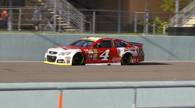 Kevin Havick drives in the NASCAR Sprint Cup championship series auto race, Sunday, Nov. 16, 2014, in Homestead, Fla. (AP Photo/Terry Renna)