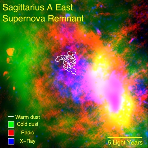 SOFIA data reveal warm dust (white) surviving inside a supernova remnant. The SNR Sgr A East cloud is traced in X-rays (blue). Radio emission (red) shows expanding shock waves colliding with surro ...