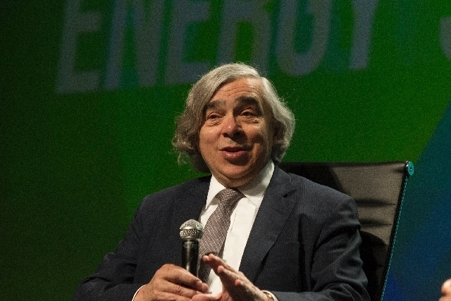 Department of Energy Secretary Ernest Moniz speaks during a keynote discussion at the National Clean Energy Summit at Mandalay Bay hotel-casino in Las Vegas, Tuesday, Aug. 13, 2013. The one day su ...