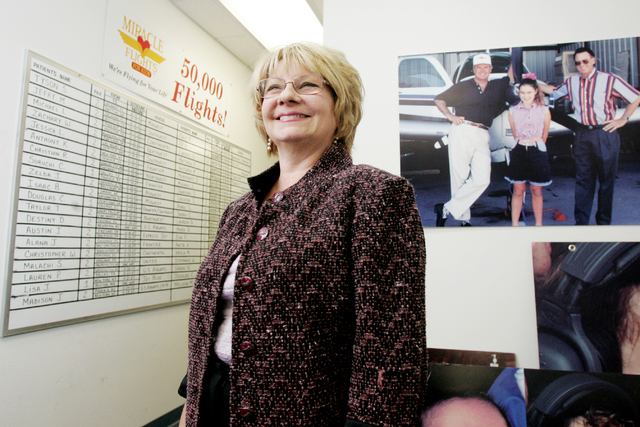 Miracle Flights for Kids founder Ann McGee poses in her office at 6396 McLeod Drive in Las Vegas, Nev., Wednesday, December 5, 2007, in Las Vegas. (Craig L. Moran/Las Vegas Review-Journal)