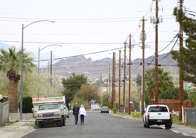Senior citizens walk on Minor Avenue near Water Street in the 89015 ZIP code of Henderson, Nev. on Wednesday, March 11, 2015. Homes in 89015 went up more than 28 percent over the past year accordi ...