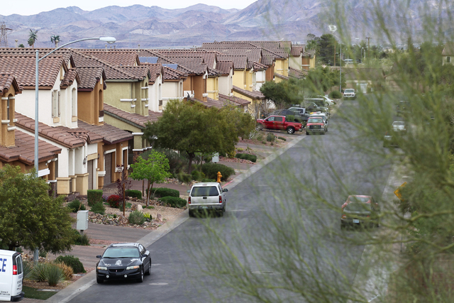 Homes on Finch Island Avenue are seen in the 89015 ZIP code of Henderson, Nev. on Wednesday, March 11, 2015. Homes in 89015 went up more than 28 percent over the past year according to Applied Ana ...