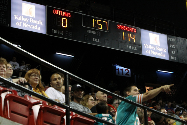 The scoreboard shows an erroneous score as the Las Vegas Outlaws take on the San Jose SaberCats during the Outlaws inaugural Arena Football League game Monday, March 30, 2015, at the Thomas & Mack ...