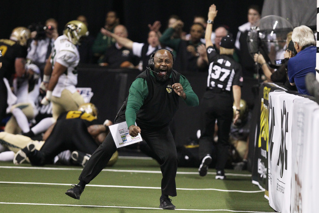 San Jose SaberCats coach Cedric Walker reacts after the SabreCats stopped the Las Vegas Outlaws on fourth-and-goal during the Outlaws inaugural Arena Football League game Monday, March 30, 2015, a ...