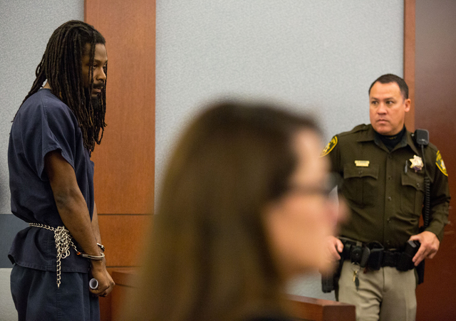 Kirk Bills, 27, appears in court during his arrest warrant hearing at the Regional Justice Center on Friday, Feb. 21, 2014. Bills was ordered to serve 4 to 10 years in prison Monday for his role i ...