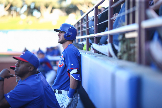 Kris Bryant of the Chicago Cubs watches as his team takes on the Oakland Athletics during the Big League Weekend exhibition baseball game at Cashman Field in Las Vegas on Friday, March 13, 2015. ( ...