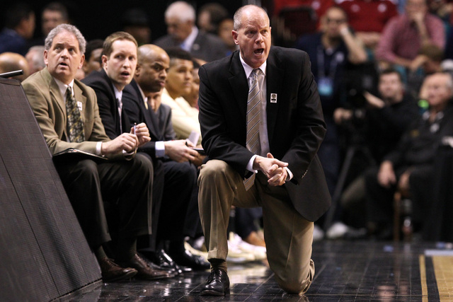Colorado head coach Tad Boyle calls out instructions during the second half of their Pac-12 Conference tournament game against Oregon State Wednesday, March 11, 2015, at the MGM Grand Garden Arena ...