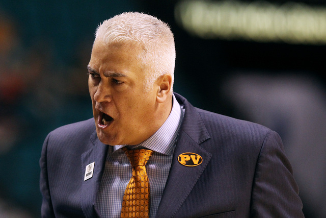 Oregon State head coach Wayne Tinkle yells at his players during the first half of their Pac-12 Conference tournament game against Colorado Wednesday, March 11, 2015, at the MGM Grand Garden Arena ...