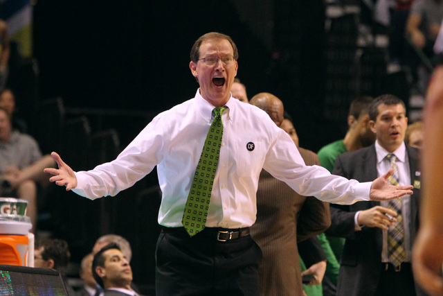 Oregon head coach Dana Altman offers his opinion of an official's call during the first half of their Pac-12 Conference tournament championship game Saturday, March 14, 2015, at the MGM Grand Gard ...