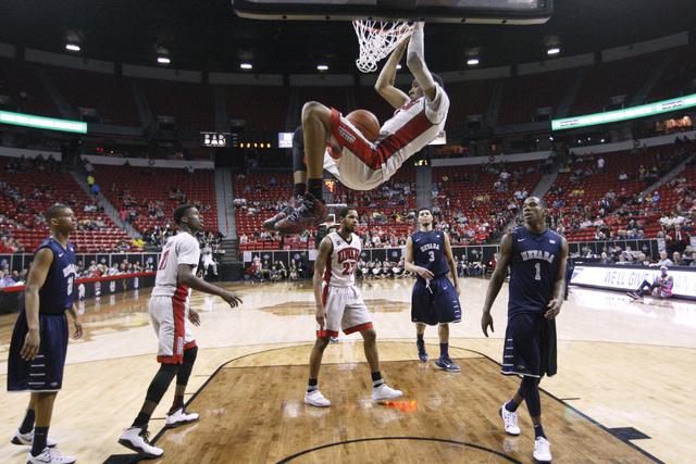 UNLV forward Chris Wood dunks on UNR during the second half of their Mountain West Conference tournament game Wednesday, March 11, 2015, at the Thomas & Mack Center. (Sam Morris/Las Vegas Review-J ...