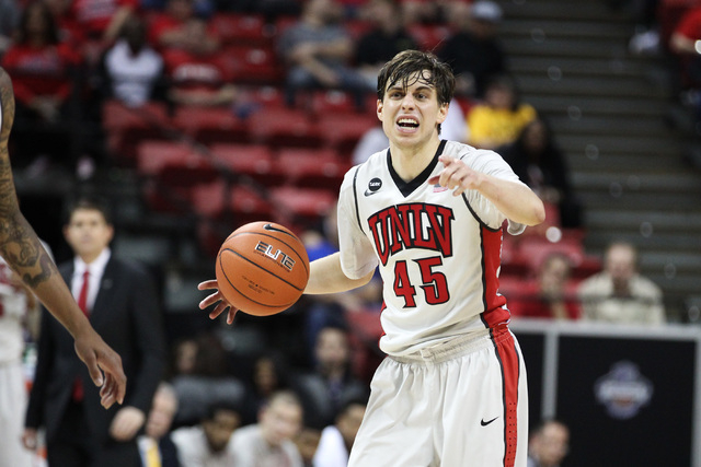 UNLV guard Cody Doolin calls a play during the first half of their Mountain West Conference tournament game against UNR Wednesday, March 11, 2015, at the Thomas & Mack Center. (Sam Morris/Las Vega ...