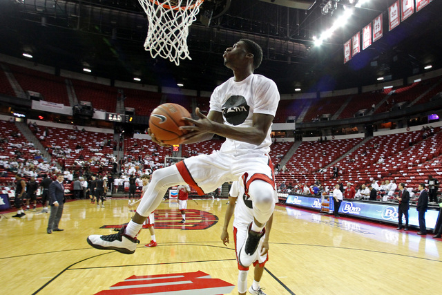 UNLV forward Goodluck Okonoboh puts up a shot was the Rebels warm up for their Mountain West Conference game against San Diego State Wednesday, March 4, 2015, at the Thomas & Mack Center. (Sam Mor ...