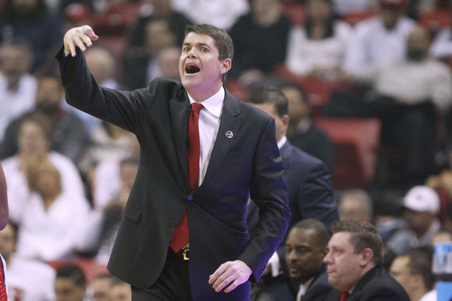 UNLV head coach Dave Rice calls a play during the first half of their Mountain West Conference game against San Diego State Wednesday, March 4, 2015, at the Thomas & Mack Center. (Sam Morris/Las V ...