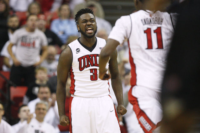 UNLV guard Jordan Cornish celebrates a successful 3-point shot against San Diego State during the second half of their Mountain West Conference game Wednesday, March 4, 2015, at the Thomas & Mack  ...