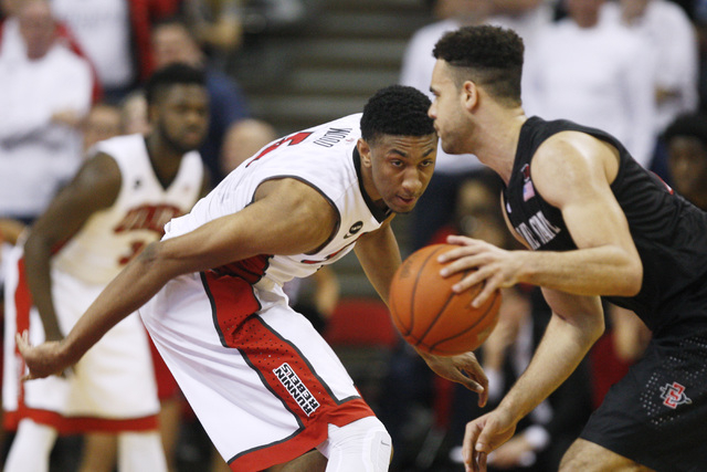 UNLV forward Christian Wood keeps his eyes on San Diego State forward J.J. O'Brien during the second half of their Mountain West Conference game Wednesday, March 4, 2015, at the Thomas & Mack Cent ...