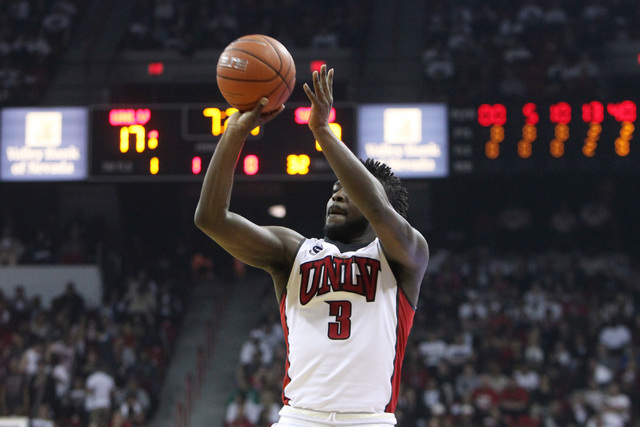 UNLV guard Jordan Cornish takes a 3-point shot against San Diego State during the first half of their Mountain West Conference game Wednesday, March 4, 2015, at the Thomas & Mack Center. (Sam Morr ...