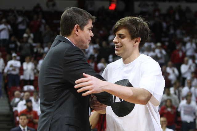 UNLV head coach Dave Rice greets Cody Doolin as part of senior night before their Mountain West Conference game against San Diego State Wednesday, March 4, 2015, at the Thomas & Mack Center. (Sam  ...