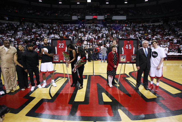 UNLV guards Jelan Kendrick, left, and Cody Doolin are joined by family and friends as part of senior night before their Mountain West Conference game against San Diego State Wednesday, March 4, 20 ...