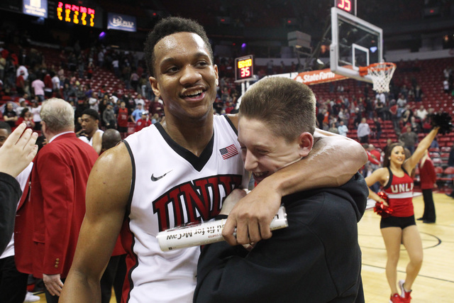 UNLV guard Rashad Vaughn hugs a fan after their Mountain West Conference game against Utah State Saturday, Jan. 24, 2015, at the Thomas & Mack Center. UNLV won in overtime, 79-77. (Sam Morris/Las  ...