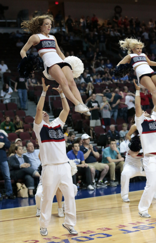 Gonzaga Cheer squad performs their routine during the Western Athletiic Conference Championship tournament Quarterfinal 3: Gonzaga Bulldogs vs. San Francisco Dons at the Orleans Arena in Las Vegas ...