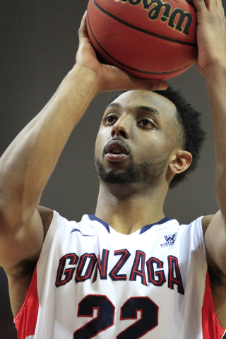 Gonzaga University guard Byron Wesley (22) shoots a free throw during the second half of the Western Athletic Conference Championship tournament Quarterfinal 3: Gonzaga Bulldogs vs. San Francisco  ...