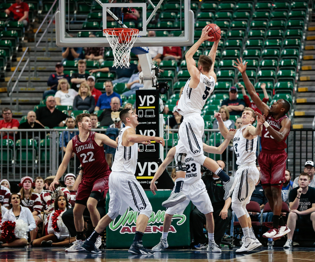 BYU G Kyle Collinsworth (5) comes away with a rebound at the Santa Clara basket, during second half of the Western Athletic Conference Championship tournament Quarterfinal 4: BYU vs. Santa Clara a ...