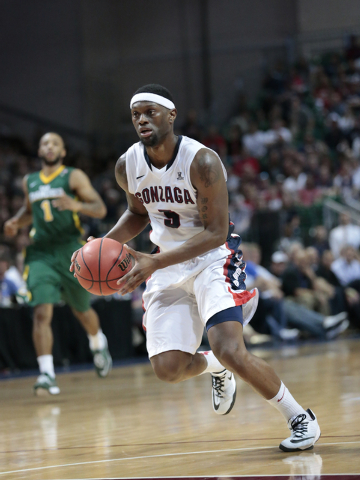 Gonzaga University G Kyle Dranginis (cq)(3) drives the ball down the court during second half of the Western Athletic Conference Championship tournament Quarterfinal 3: Gonzaga Bulldogs vs. San Fr ...