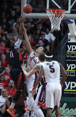 Pepperdine's Atif Rusell (11) goes up for a shot against Gonzaga in the West Coast Conference Basketball Championships semifinal game at the Orleans Arena in Las Vegas Monday, Mach 9, 2015. Gonzag ...